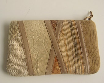 Multi textured clutch / Make up pouch / Small clutch