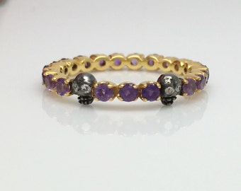 Mystical mulberry amethyst ring, amethyst eternity ring, limited edition ring, thin gold ring, wedding ring, skull ring,  US Size 5.5