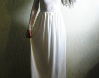 """earth angel - organic cotton bamboo paired with ivory vintage 1960""""s vintage floral lace bohemian boho chic hippie romantic maxi dress xs"""