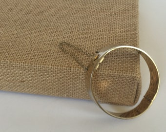 Whiting and Davis Goldtone Hinge Bangle