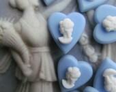 12 Vintage Wedwood Blue  Plastic Cameo  Hearts