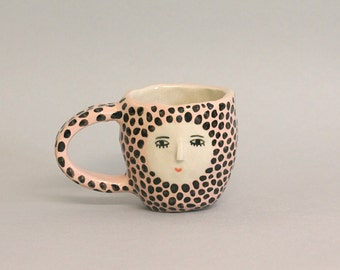 Polka dot light pink wonky cup - double espresso cup - 3D nose