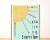 NEW! You are My Sunshine, Vertical, Wall Art, Kids Wall Decor, Girl Nursery, Print, Art for Baby Nursery, My Only Sunshine, Illustration