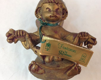 "Vintage Fontanini Angel Ornament Made in Italy Authentic Reproduction of Fontanini Sculpture Hand Painted in Tuscany 3.5"" Tall 3.25"" Wide"