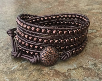Chocolate Brown Leather Wrap, 5x Wrap Bracelet, Brown Leather Bracelet, Free Shipping
