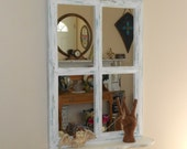 Shabby Rustic Farmhouse Window Mirror Shelf - ReCycled Salvaged RePurposed -  Dirty White & Chippy Distressed Paint