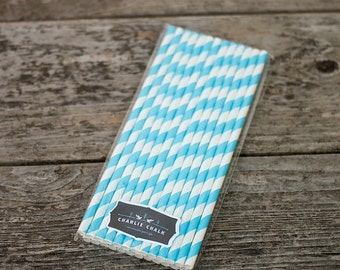 25 Blue Stripe Paper Straws for Birthday Parties, Candy Bar Ideas, Party Supplies, Party Favors, Eco Friendly PS021