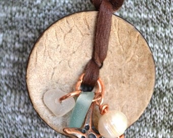 Deer Skin Long Necklace with  coconut Shell, Copper Starfish, pearl and Seaglass Glass