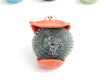 SpongeMonster - Coral Pink - GREAT for holding your sponge or soap on the sink in your kitchen