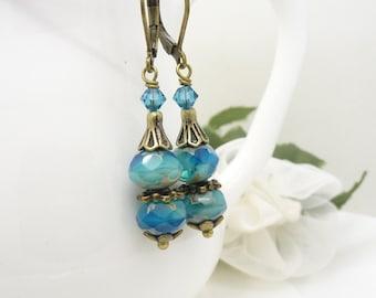 Cyan sea blue earrings, aztec blue glass bead earrings, vintage style czech glass and antique bronze jewelry