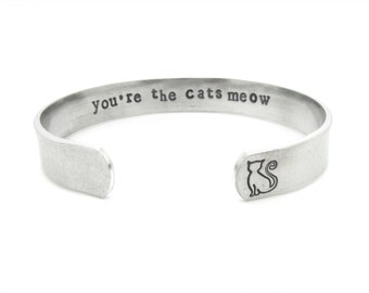 cat jewelry, cat lover gift, bracelet, you are the cats meow, silver bracelet, hand stamped,  birthday gift, cats, thank you, crazy cat lady