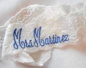 MONOGRAMMED Wedding Garter MONOGRAMMED Bridal Garter Floral Stretch Lace Bridal Garter Single Garter