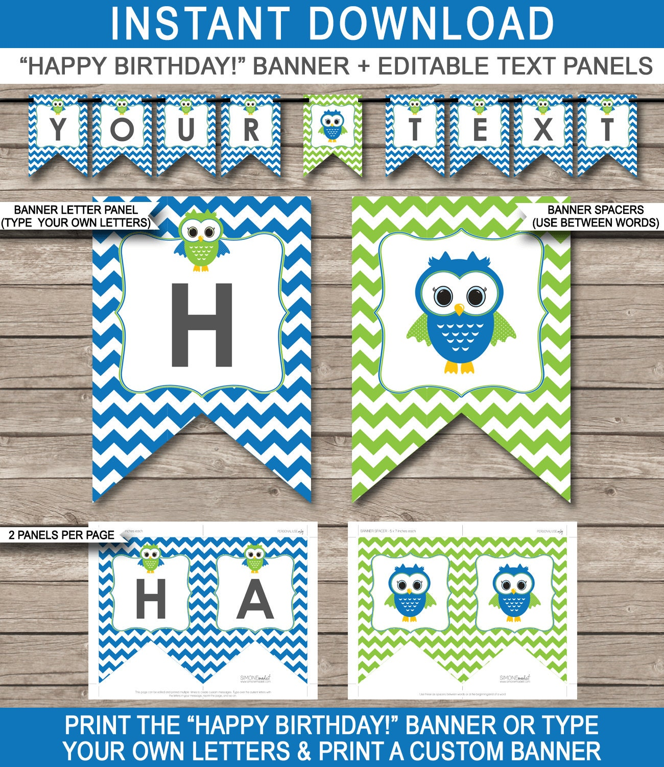 Owl Party Banner Happy Birthday Banner Custom Banner