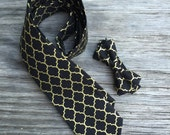 black bowties, black gold bowtie, gold and black bow tie, father and son christmas ties, black and gold winter wedding, christmas tie set