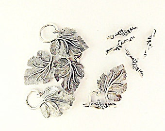 Silver Grape Leaf Toggle Clasp,  Lot of 5  Jewelry Making Supplies