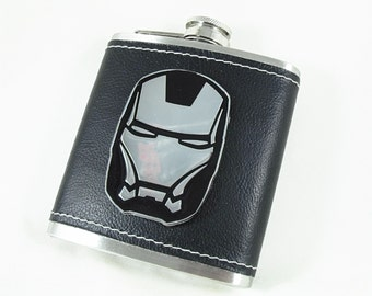 Flask,   Super Hero Leatherette  Wrapped 6 Ounces  Mens Gift  Handmade