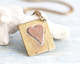 Primitive Heart Necklace - Copper and Brass Love Tag Pendant on Chain - Quirky Vintage Jewelry