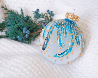 Christmas bauble, Christmas balls, Christmas ornaments, Handpainted ornaments, Teal ornaments, Turquoise ornaments - MAGIC SPELL