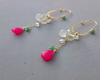 Long Hot Pink Chalcedony Earrings with Emerald, Green Amethyst, Swarovski Crystal and Gold Hoops