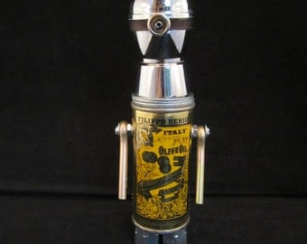 Carl Minion Bot - found object robot sculpture assemblage by Cheri Kudja with Bitti Bots