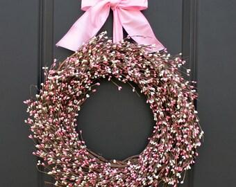 Spring Wreath - Pink Wreath - Berry Wreath - Easter Wreath - Valentine Wreath