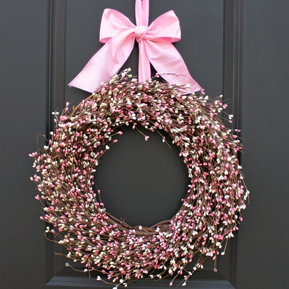 Spring Wreath Pink Wreath Berry Wreath Easter Wreath