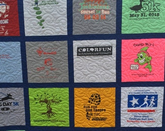 T-Shirt Quilt, 16 shirt, TShirt Quilt, Traditional Block Style , UpCycled Quilt (DEPOSIT)