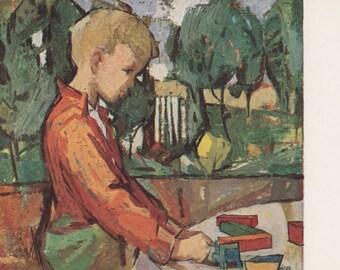 "Vintage German Postcard -- Fritz Eisel ""Playing Child"" -- 1961"