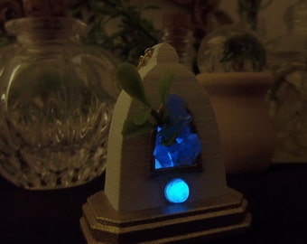 Crystal Shrine - Glow in the Dark - White and Gold Planter Necklace - Altar Pendant