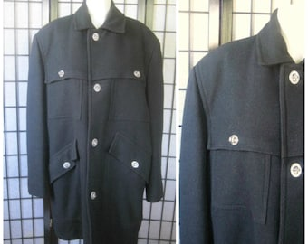 Vintage Jacket Winter Coat Black Wool Toggle Closure 1960s 1970s Plaid Lining 42 R 44 Chest Mens Outerwear M Lakeland Sportswear Wisconsin