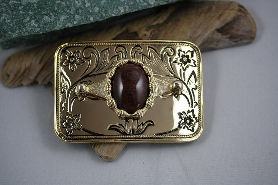 Red Tiger Eye Rectangle Bright Gold Plated Belt Buckle - BB0029
