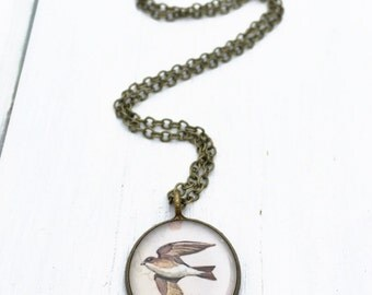 SWALLOW JEWELRY / Illustrated Swallow Necklace