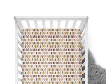 Fitted Crib Sheet Blushing Chevron Slices - Chevron Crib Sheet- Blush Crib Sheet- Gold Crib Sheet- Blush Baby Bedding- Crib Bedding- Organic