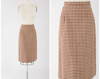 1950s Vintage Skirt • Autumn Winds • Brown Cream Plaid Checked Wool 50s Pencil Skirt Size Small
