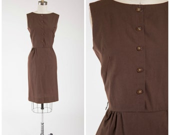 Vintage 60s Dress • Endless Bound • Brown Cotton 1960s Day Dress Size Small