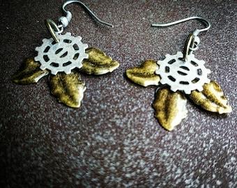 Steampunk Leaf Earrings