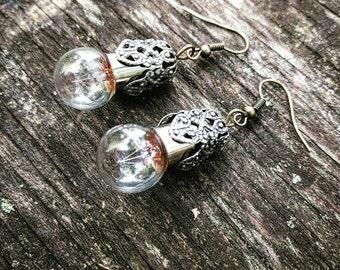 Steampunk Round Lightbulb Earrings
