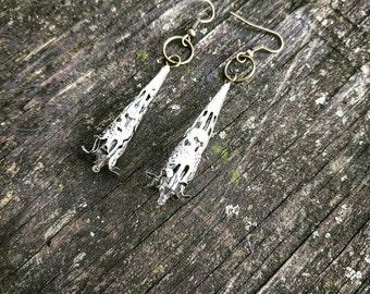 Long Neo-Victorian Handmade Ooak Lace Silver Filigree Lightbulb Earrings