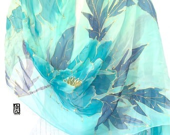 Silk Shawl Hand painted, Turquoise Green, Mint Floral Scarf, Mint Green Japanese Peonies Scarf, Silk Chiffon Scarf, Takuyo, 22x90 inches,