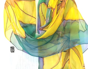Hand Painted Silk Shawl, ETSY, Large Green and Yellow Scarf, Silk Chiffon Scarf, Blue Green and Yellow Lilies Scarf, Takuyo, 22x90 inches,