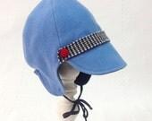 Boy's winter cap, Blue Toddler hat, mittens, baby boy warm hat, blue wool baby cap, wooly cap, handmade wooly bonnet, Toddler hat & mittens