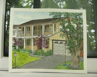 Custom House Portrait in Watercolor - Gift for Parent - Home Portrait - House Sketch - Commissioned Art - Unique Artwork - Hand Painted
