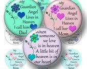3, Guardian Angel In Heaven, 1 Inch Circle, Bottle Cap Images, Digital Collage Sheets, Mom, Dad, Grandma, Memory Jewelry (No.1)