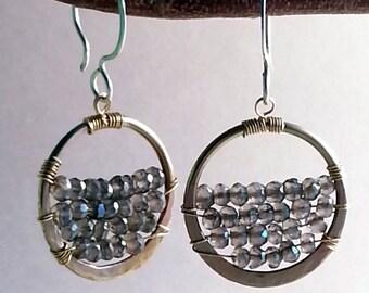 Forged Brass Smokey Quartz Hoop Earrings bead semi precious