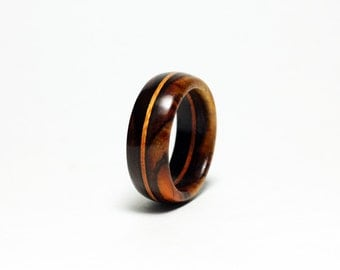 Wood Ring with Stained Wood Accent