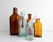 Antique Aqua & Amber Bottle Collection, Small Medicine Bottles, Set of 5