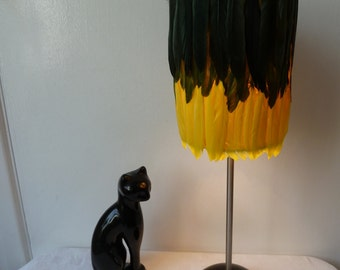 Unique Tiki, Feather Light, Olive Green & Canary Yellow Goose Feather Embellished Lamp Shade, Ethnic, Tropical, Boho, Hipster, Ethereal