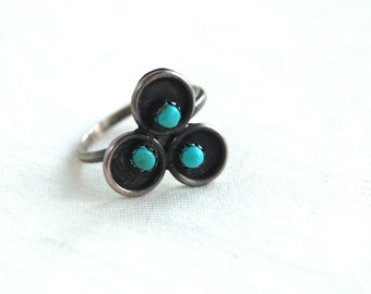 Turquoise Ring Lucky Clover Size 5 .5 Vintage Native American Sterling Silver Southwestern Jewelry