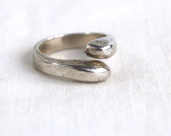 Mexican Wrap Ring Sterling Silver Size 6 .5 Vintage Simple Adjustable Bypass Modern Jewelry