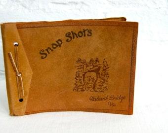 Vintage Leather Photo Album Natural Bridge Virginia Souvenir Snap Shot Book Photography Display